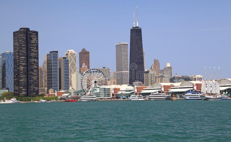 De horizon van Chicago en het Meer van Michigan, Illinois stock fotografie