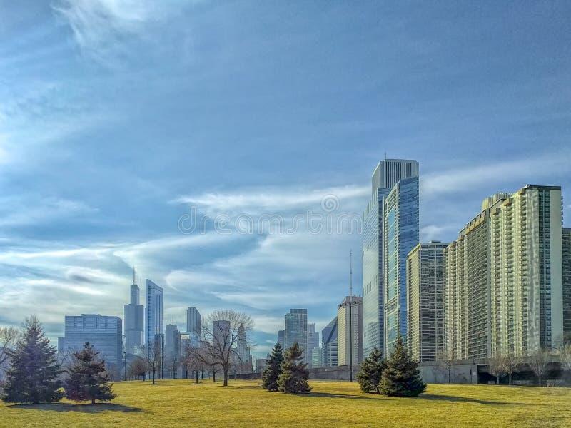 De Horizon van Chicago Lakefront in Randolph Street Stedelijk Landschap stock afbeeldingen