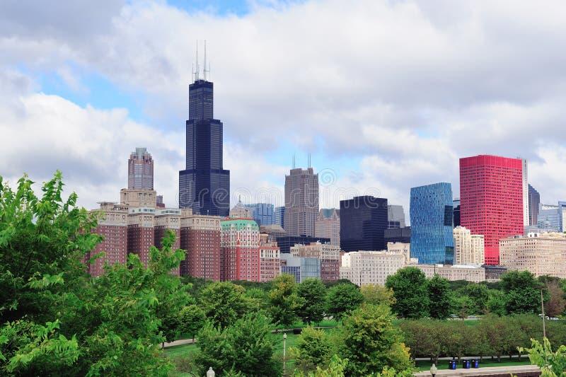 De horizon van Chicago over park stock foto