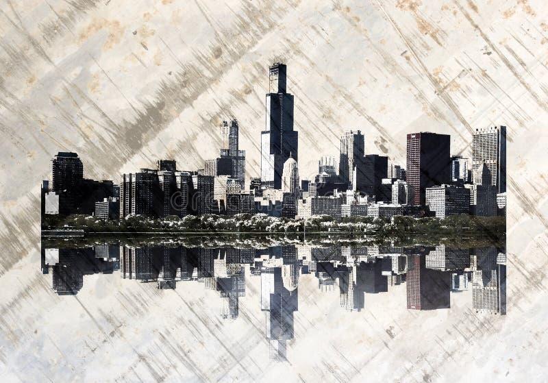 De horizon van Chicago van Grunge vector illustratie