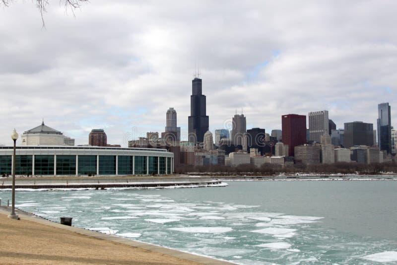 De Horizon van Chicago in de winter stock afbeeldingen