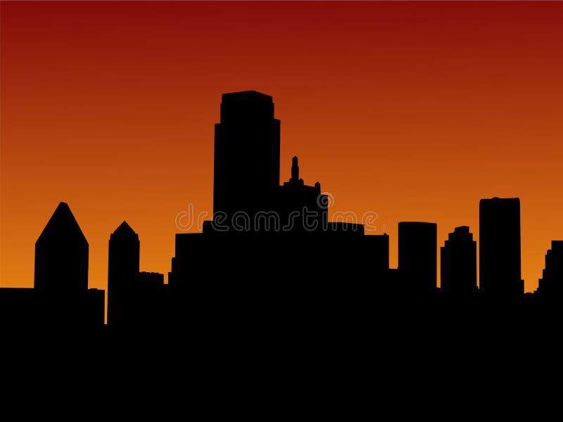 De Horizon van Dallas bij zonsondergang royalty-vrije illustratie
