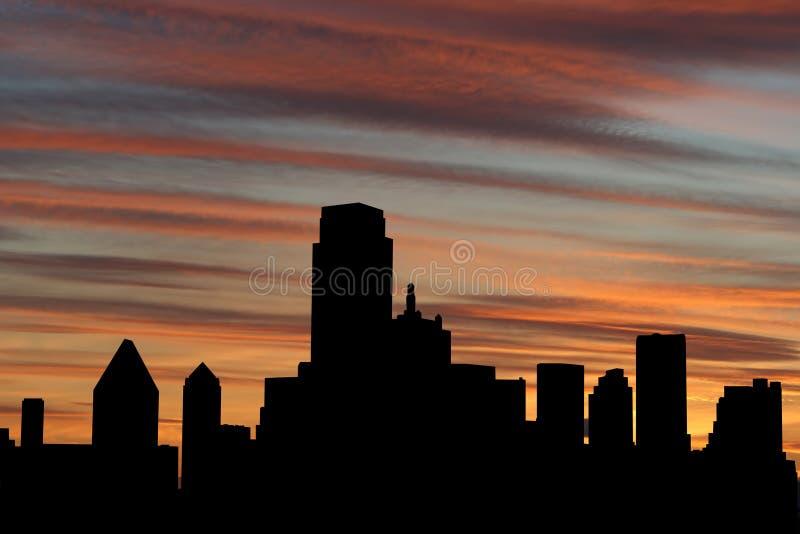 De Horizon van Dallas bij zonsondergang stock illustratie