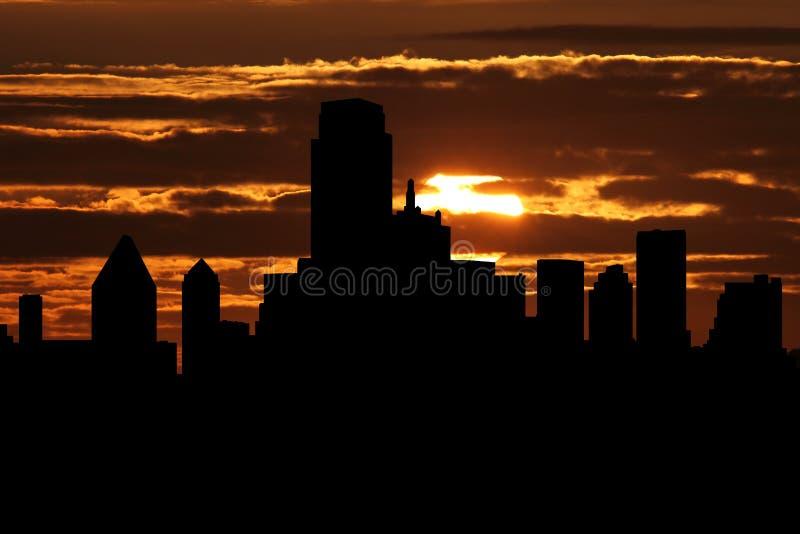 De horizon van Dallas bij zonsondergangillustratie stock illustratie