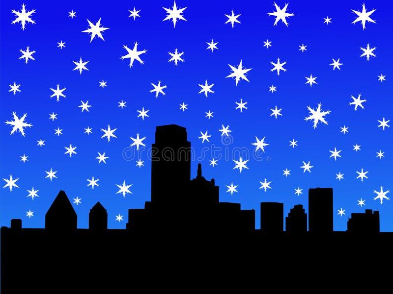 De Horizon van Dallas in de winter royalty-vrije illustratie