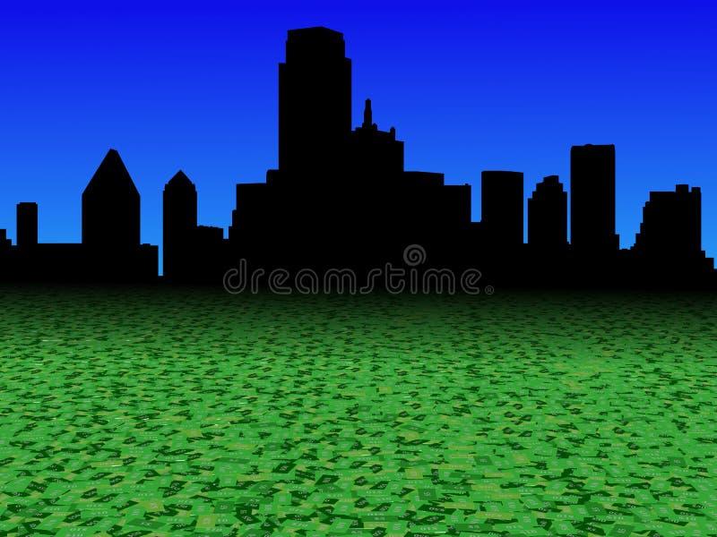 De horizon van Dallas met abstracte de voorgrondillustratie van de dollarmunt royalty-vrije illustratie