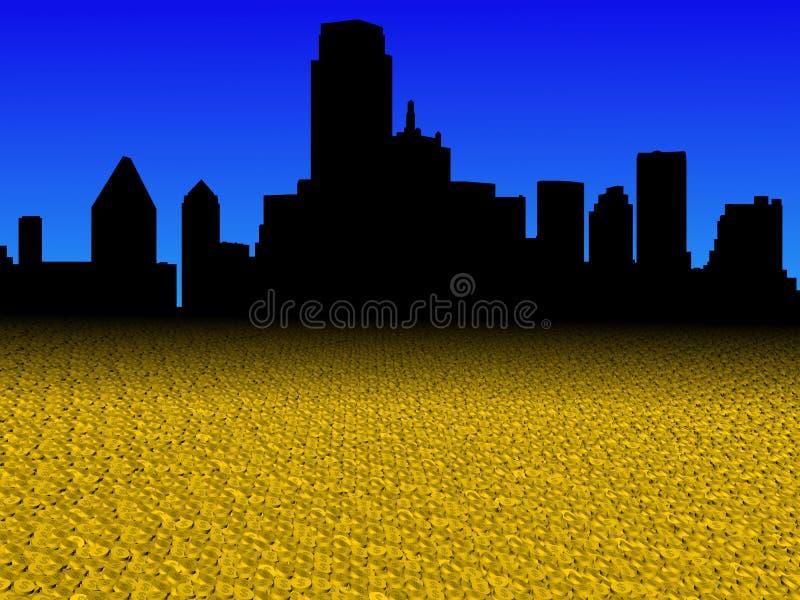 De horizon van Dallas met gouden de voorgrondillustratie van dollarmuntstukken vector illustratie