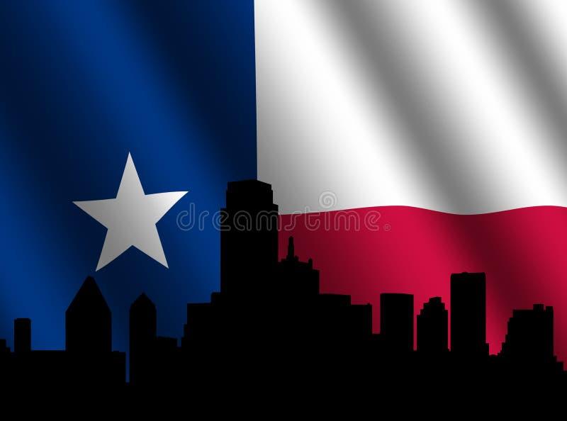 De horizon van Dallas met Texan vlag vector illustratie