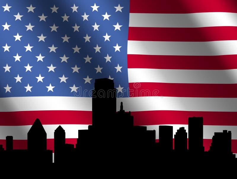 De horizon van Dallas met Vlag stock illustratie