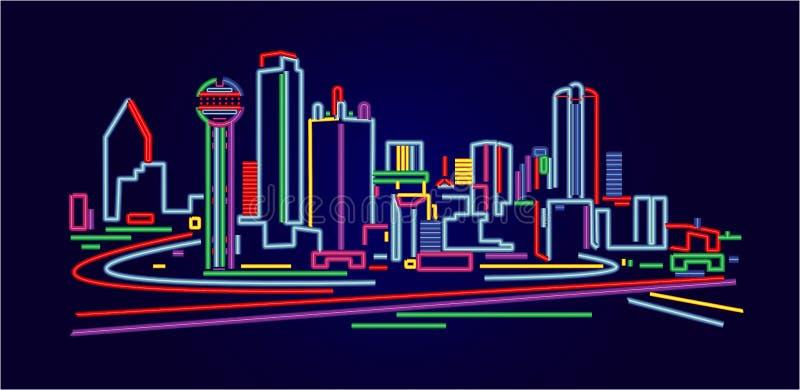 De Horizon van Dallas Texas stock illustratie