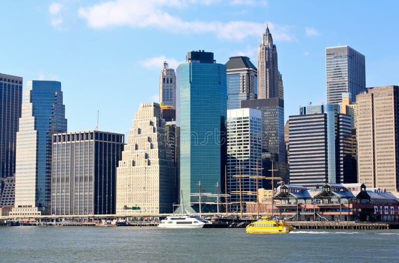 De horizon van de binnenstad van Manhattan stock foto