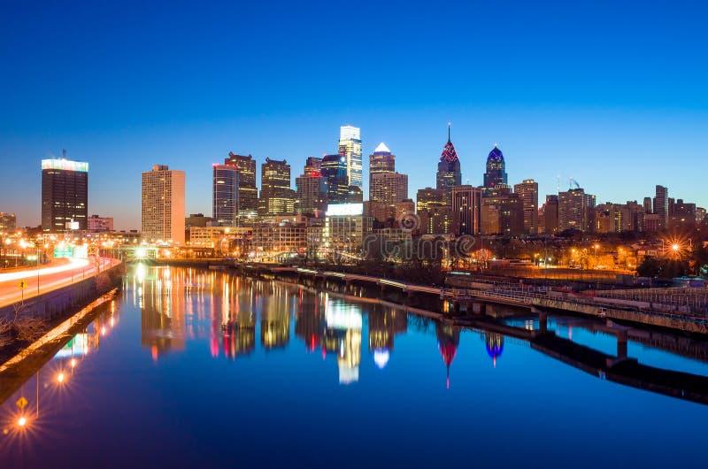 De Horizon van de binnenstad van Philadelphia, Pennsylvania. stock foto's
