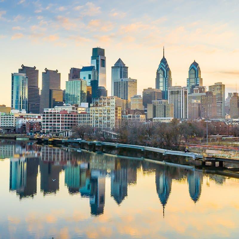 De Horizon van de binnenstad van Philadelphia, Pennsylvania. stock afbeeldingen