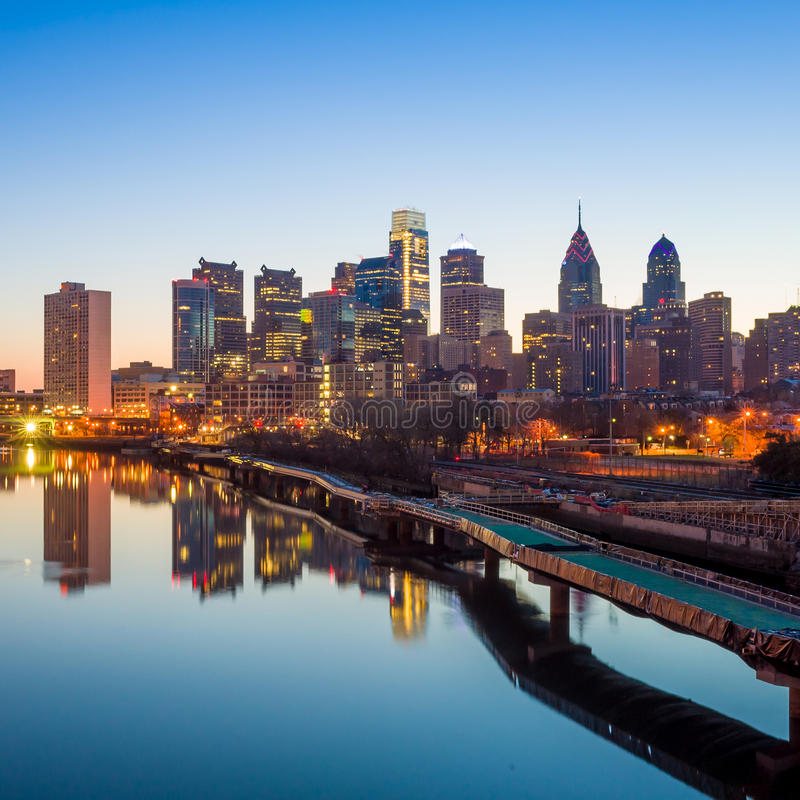 De Horizon van de binnenstad van Philadelphia, Pennsylvania. stock fotografie