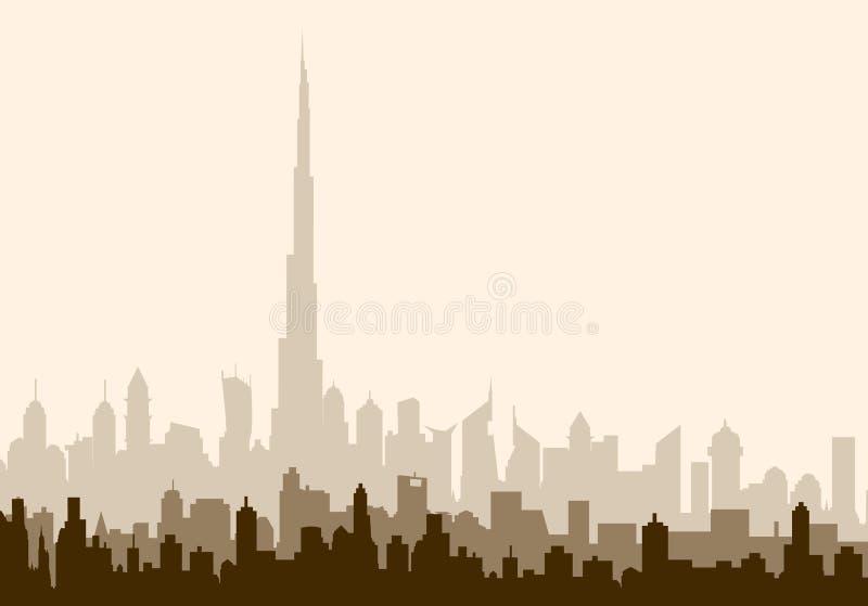 De Horizon van de de Ochtendstad van Doubai - Vectorillustratie stock illustratie