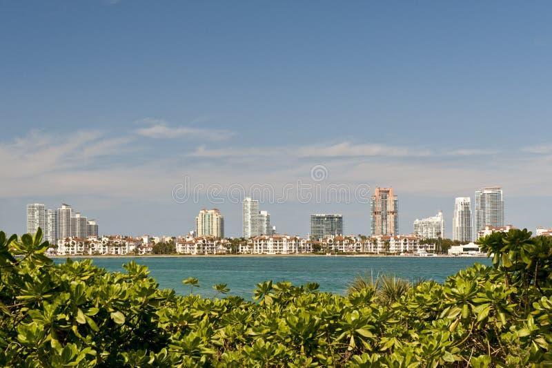 De horizon van de de stadswaterkant van Miami stock foto
