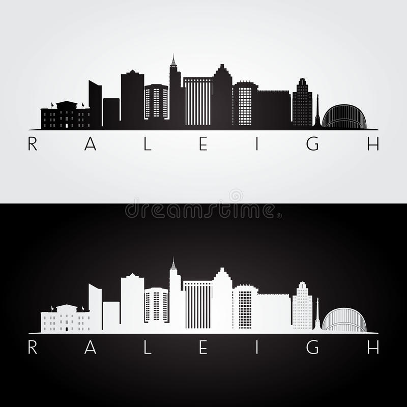 De horizon van de Raleighv.s. en oriëntatiepuntensilhouet royalty-vrije illustratie
