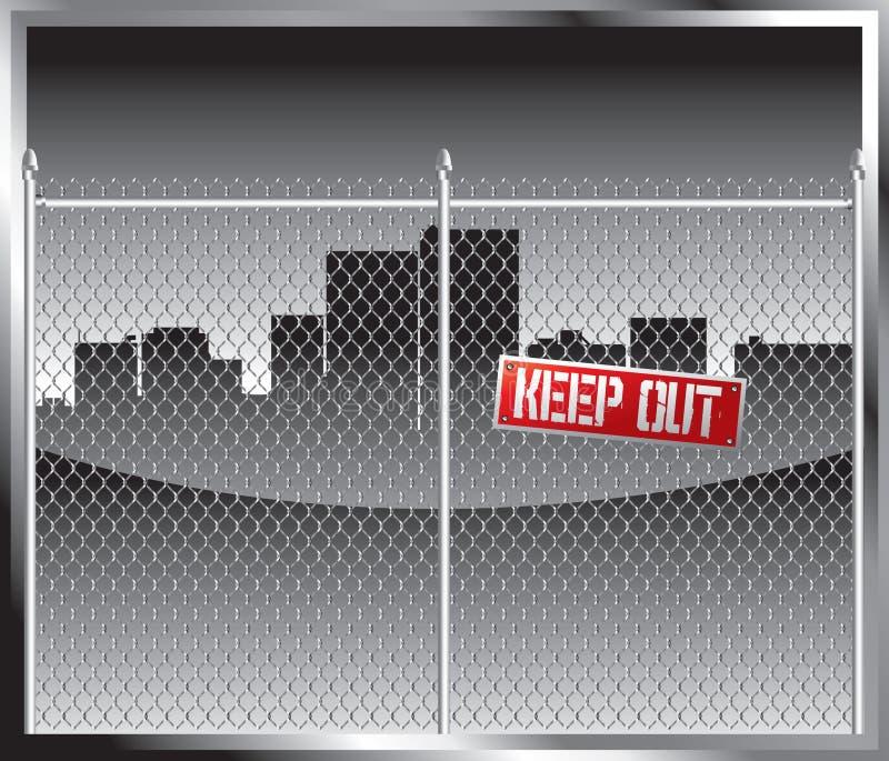 De horizon van de stad achter kettingslink omheining vector illustratie