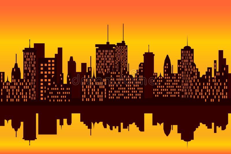 De horizon van de stad bij zonsondergang of zonsopgang stock illustratie