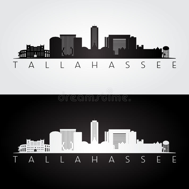De horizon van de Tallahasseev.s. en oriëntatiepuntensilhouet royalty-vrije illustratie