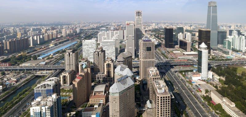 De Horizon van de Wolkenkrabber van de Bouw van Peking CBD stock afbeelding
