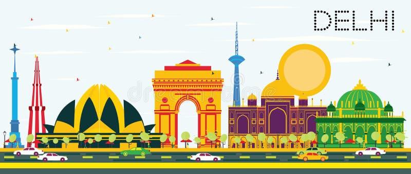 De Horizon van Delhi India met Kleurengebouwen en Blauwe Hemel stock illustratie