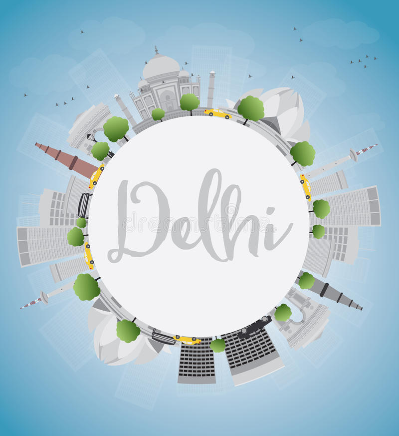 De horizon van Delhi met grijze oriëntatiepunten, blauwe hemel en exemplaarruimte royalty-vrije illustratie