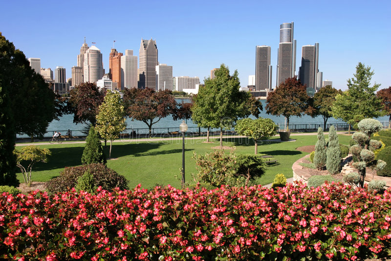 De horizon van Detroit royalty-vrije stock afbeelding
