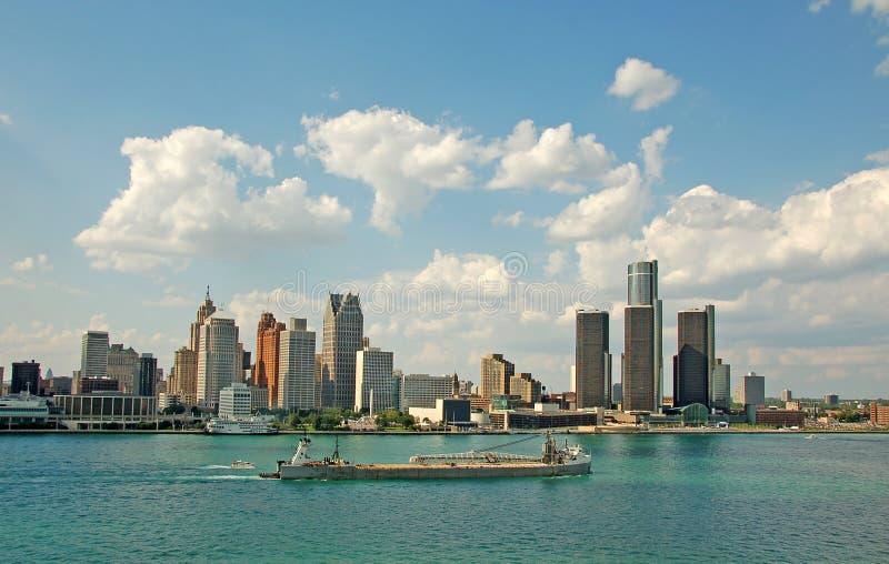 De horizon van Detroit en riverfront royalty-vrije stock afbeelding