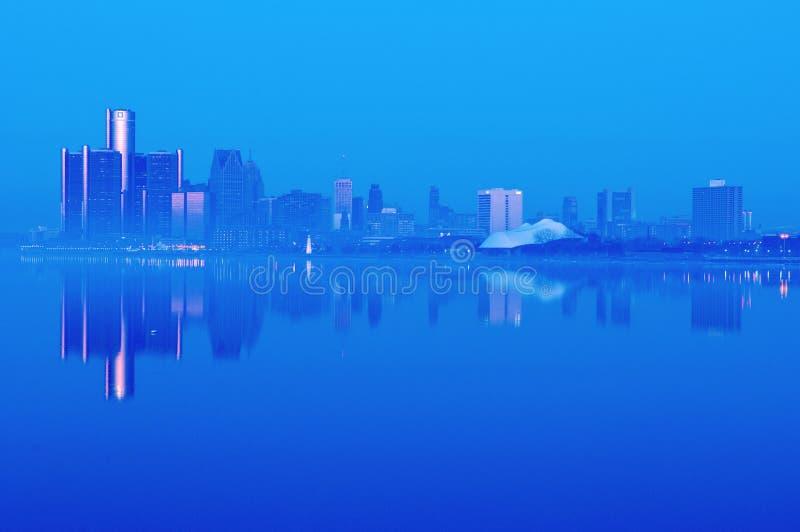 De Horizon van Detroit, Michigan bij Nacht royalty-vrije stock fotografie
