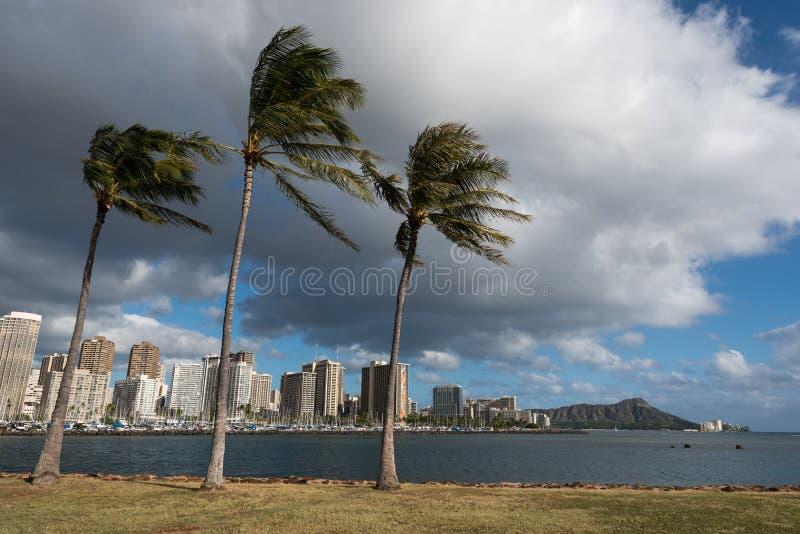 De Horizon van Diamond Head en van Honolulu van Magisch Eiland stock foto's