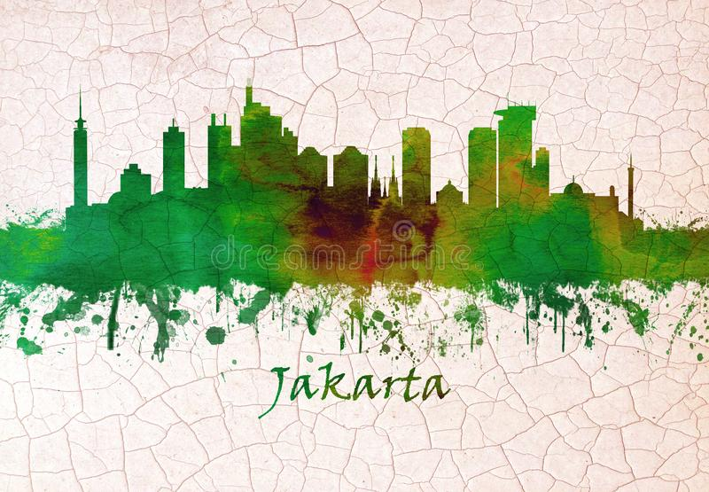 De horizon van Djakarta Indonesië royalty-vrije illustratie