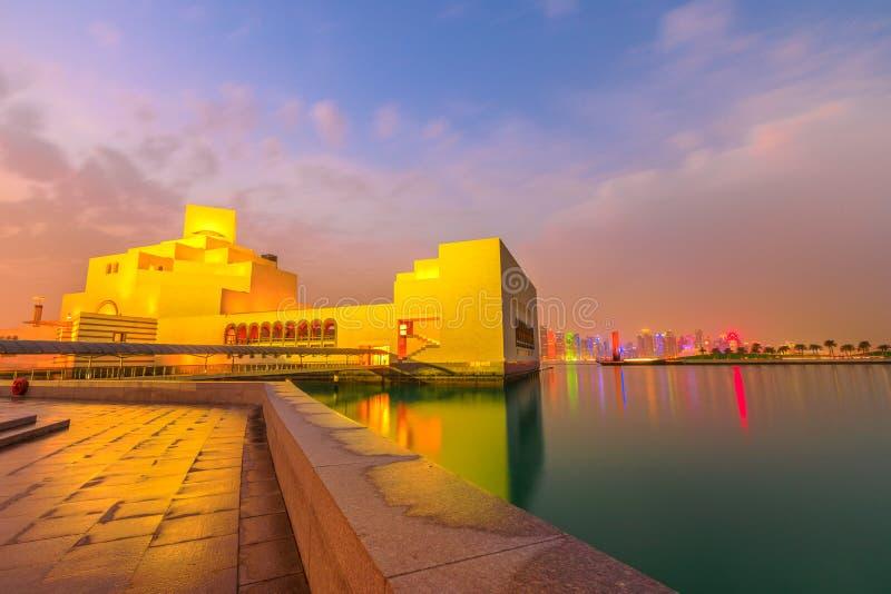 De horizon van de Dohastrandboulevard stock foto