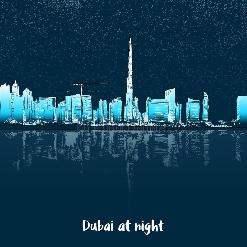 De Horizon van Doubai bij nacht vector illustratie
