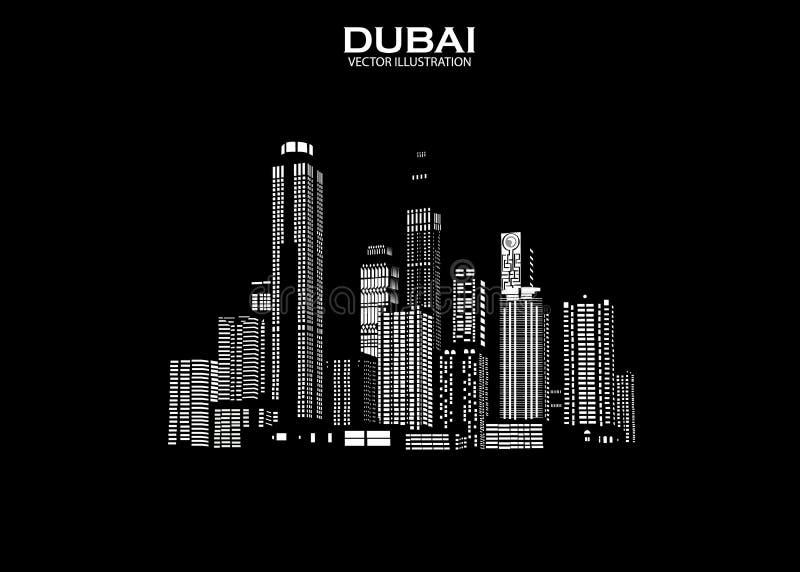 De horizon van Doubai met panorama op hemelachtergrond Vector illustratie stock illustratie