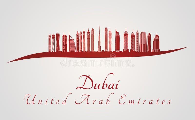 De horizon van Doubai V2 in rood stock illustratie