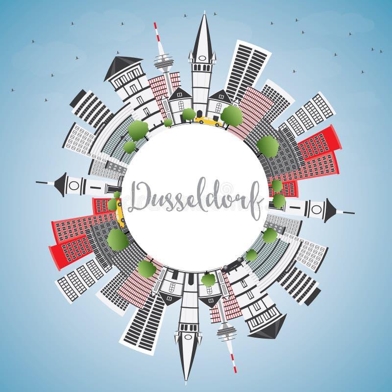 De Horizon van Dusseldorf met Gray Buildings, Blauwe Hemel en Exemplaarruimte royalty-vrije illustratie