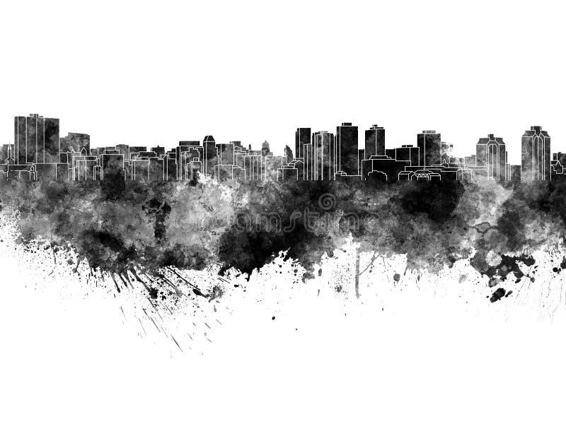 De horizon van Halifax in zwarte waterverf op witte achtergrond stock illustratie