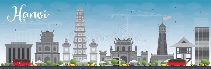 De horizon van Hanoi met grijze Oriëntatiepunten en blauwe hemel royalty-vrije illustratie
