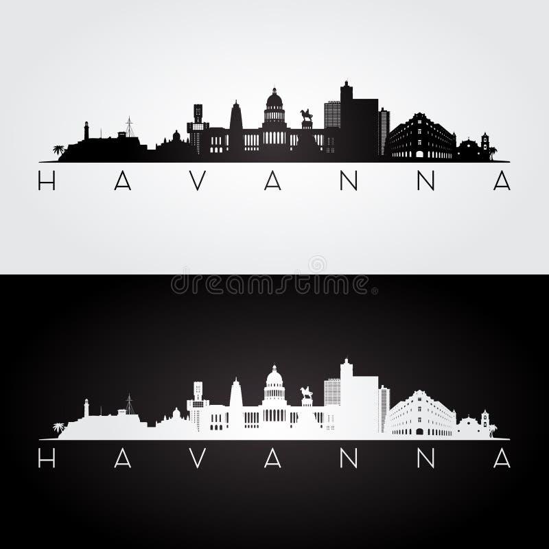 De horizon van Havana en oriëntatiepuntensilhouet vector illustratie