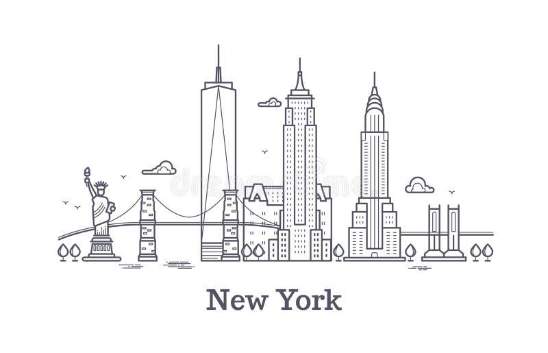De horizon van het de stadsoverzicht van New York, nyc voert silhouet, de toerist van de V.S. en reis vectorconcept vector illustratie