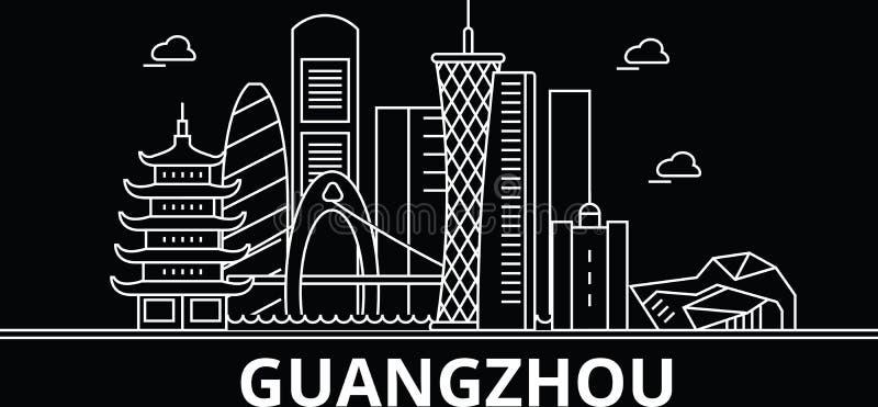 De horizon van het Guangzhousilhouet China - de vectorstad van Guangzhou, Chinese lineaire architectuur, gebouwen Guangzhoureis stock illustratie