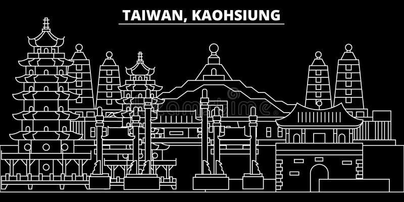 De horizon van het Kaohsiungsilhouet Taiwan - de vectorstad van Kaohsiung, Taiwanese lineaire architectuur De reis van de Kaohsiu vector illustratie