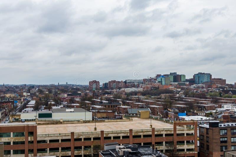 de horizon van het noorden fells punt en patterson brengt het park in Baltimore in de war royalty-vrije stock foto