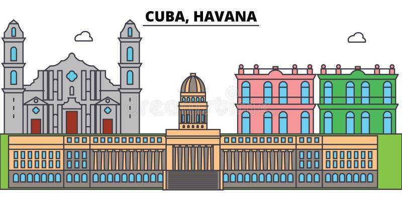 De horizon van de het overzichtsstad van Cuba, Havana, lineaire illustratie, banner, reisoriëntatiepunt, gebouwen silhouetteert,  royalty-vrije illustratie
