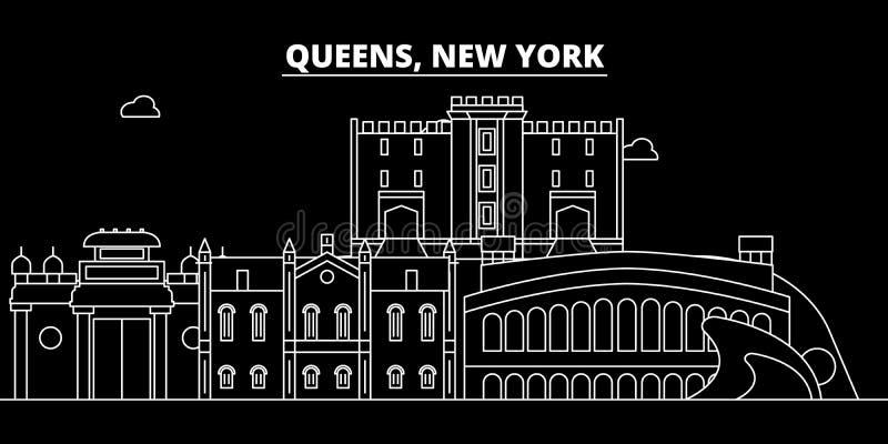 De horizon van het Queenssilhouet De V.S. - Queens vectorstad, Amerikaanse lineaire architectuur, gebouwen De illustratie van de  stock illustratie