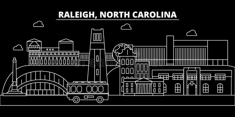 De horizon van het Raleighsilhouet De V.S. - Raleigh vectorstad, Amerikaanse lineaire architectuur, gebouwen Raleighreis royalty-vrije illustratie