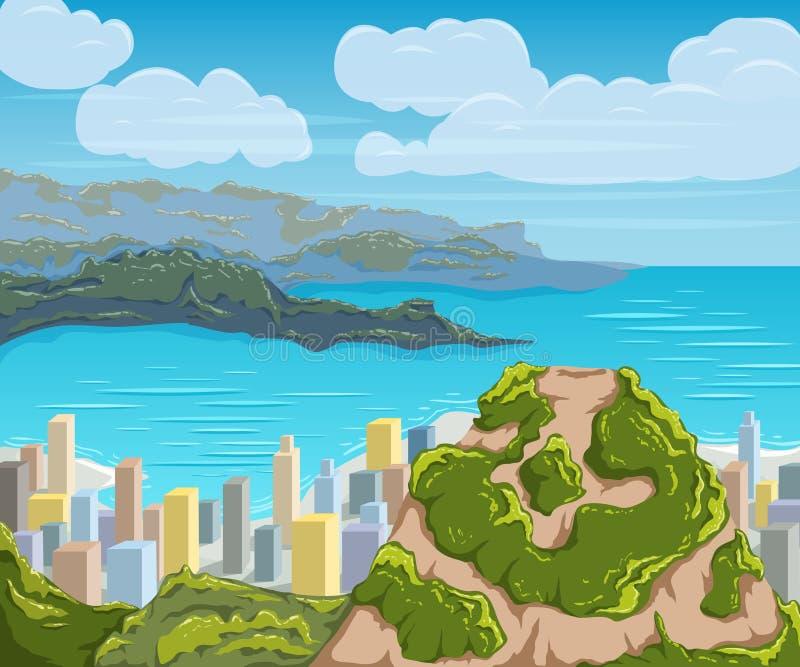 De horizon van het Rio de Janeiro De stadslandschap van Brazilië royalty-vrije illustratie
