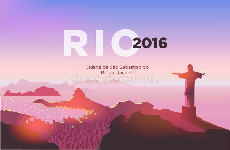 De horizon van het Rio de Janeiro Standbeeldstijgingen boven de Braziliaanse stad Zonsonderganghemel over Copacabana-strand Vecto vector illustratie