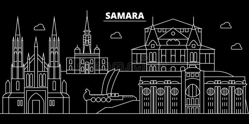 De horizon van het Samarasilhouet Rusland - de vectorstad van Samara, Russische lineaire architectuur, gebouwen Samarareis royalty-vrije illustratie